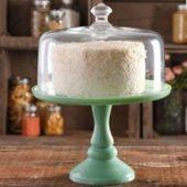 Pioneer Woman Pedestal Cake Plate Glass Lid Jadeite